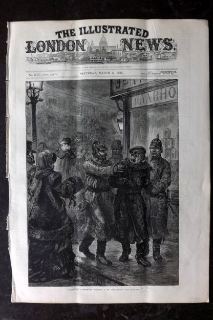 ILN 1880 Antique Print. Arrest of a Suspected Nihilist, St. Petersburg Russia
